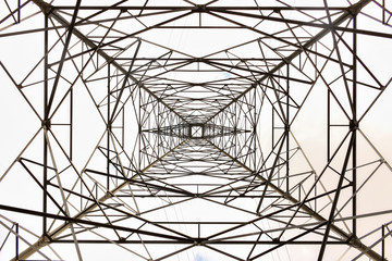 High-voltage power transmission tower, abstract,  background
