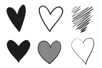 Hand drawn grunge hearts on isolated white background. Set of love signs. Unique signs for design. Black and white illustration. Doodles for flyers, greeting cards and banners. Creative art sketches
