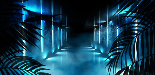 Background of the dark room, tunnel, corridor, neon light, lamps, tropical leaves. Abstract background with new light. 3D rendering