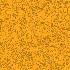 Paper texture. Vector monochrome seamless pattern, curved lines, black & yellow background. Abstract dynamical rippled surface, illusion of movement, curvature. Design for tileable print