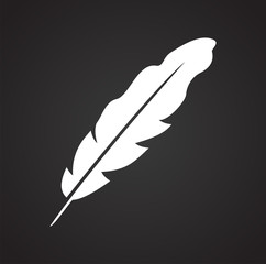 Feather icons set on black background for graphic and web design, Modern simple vector sign. Internet concept. Trendy symbol for website design web button or mobile app