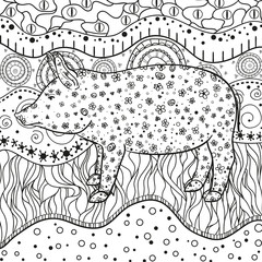 Ornate wallpaper with pig. Hand drawn waved ornaments on white. Abstract patterns on isolated background. Design for spiritual relaxation for adults. Line art. Black and white illustration