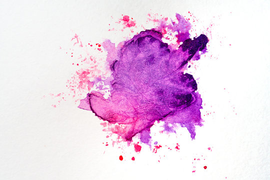 watercolor stain on paper red purple with droplets of paint, bright on the texture of watercolor paper.