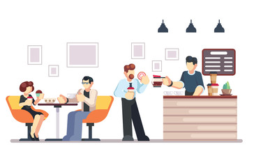 Cafe shop and people relaxing. Modern place interior to meet, drink and eat, chat, have a rest, enjoy free time, barista makes and serves coffee for public. Vector flat style cartoon illustration