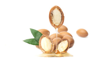 ARGAN SEEDS isolated on a white background. Argan oil and argan nuts concept