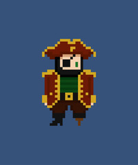 Pixel art vector illustration - 8 bit pirate captain with eye patch and leg crutch