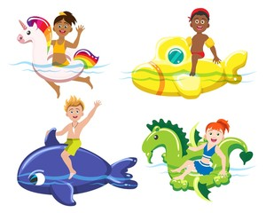 Children and lifebuoys. Kids on rubber toy swim rings, boys and girls summer beach lifesavers isolated on white background, vector illustration