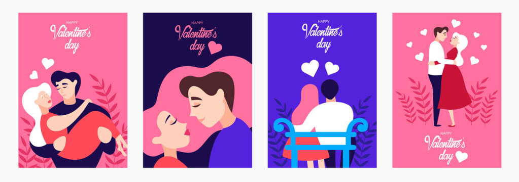 set of postcards to the day of saint Valentin. vector cartoon illustration