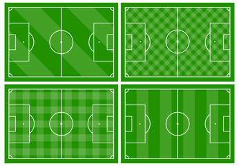 Set of four football fields with different green grass ornaments