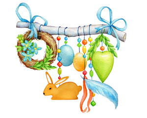 Happy easter - decorated twig with a cute bunny, colored eggs, flowers, heart, wreath of wicker spring twigs and beads. Hand drawn watercolor painting illustration isolated on white background.