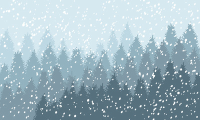 Winter Snowy Woodland Landscape with falling snow