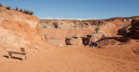 group of tourists going down the trail into Antelope Canyon near Page, Arizona