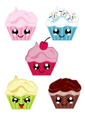 Sammlung mit Kawaii Cupcakes. Vektordatei Eps 10