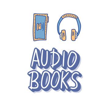 Set of audio books symbols. Vector illustration.