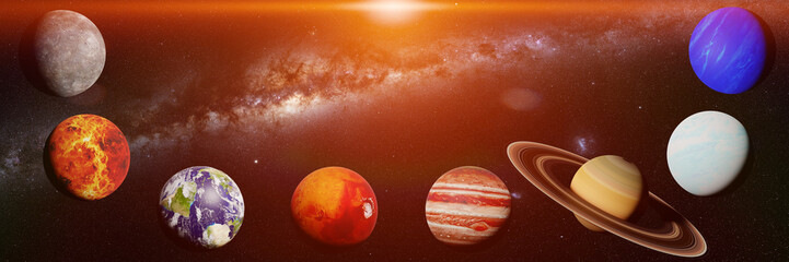 the planets of the solar system lit by the Sun