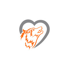 love Fox logo vector ,wolf logo inspiration template