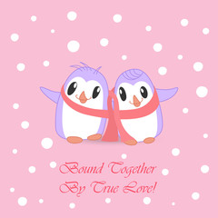 Couple of Cute Penguins Bound with Pink Scarf