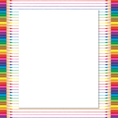 Blank paper space with color pancils on right and left side.