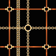 Golden chains and belts, seamless pattern. Baroque style fashion pattern with chains and belts