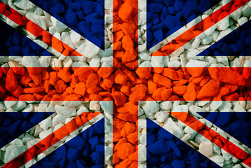 National flag of Britain on a rocks background
