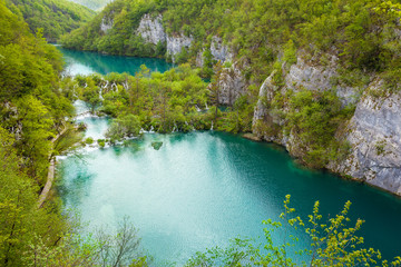 Breathtaking view of the cascading lakes with turquoise waters and green forests, Plitvice Lakes National Park, Croatia