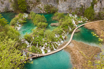 Aerial view of turquoise, pure water lakes and iconic waterfalls, Plitvice Lakes National Park, Croatia