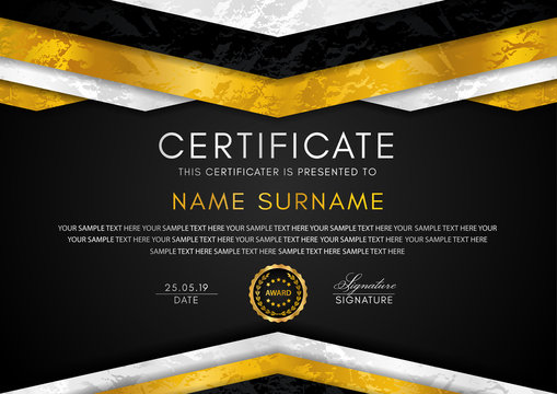 Certificate template with geometry frame and gold badge. Black background design for Diploma, certificate of appreciation, achievement, completion, of excellence, award