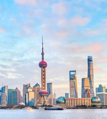 Sunset Shanghai skyline, modern architecture