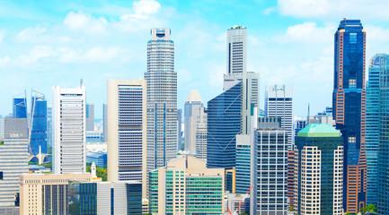 Aerial panorama of Singapore Downtown