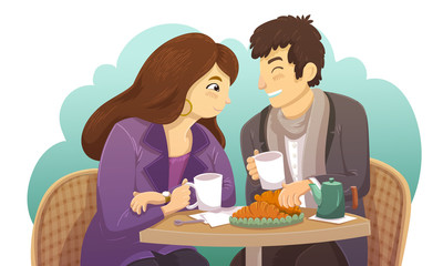 Couple sitting at a table and drinking coffee with croissant in a street cafe. Woman with brown hair and violet vest. Vector illustration isolated on a white background.