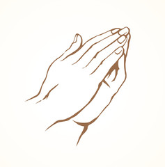 Praying hands. Vector drawing