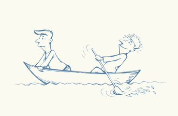 Men are swimming in boat. Vector drawing