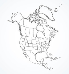 North American continent with contours of countries. Vector drawing