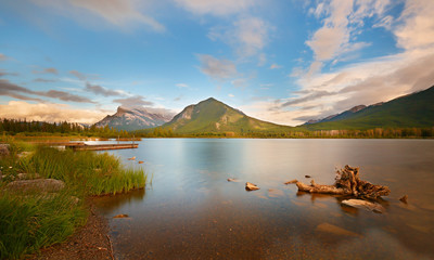 Beautiful sunset over Vermillion Lake , Banff National Park, Alberta, Canada. Vermilion Lakes are a series of lakes located immediately west of Banff, Alberta