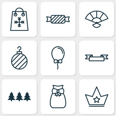 Holiday icons set with birthday, holiday shopping, crown and other present pouch  elements. Isolated vector illustration holiday icons.