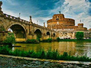 Rome Castel Saint Angel and bridge over Tiber river
