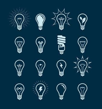 Light bulb icon set. Lightbulb, electricity, energy symbol or label. Vector
