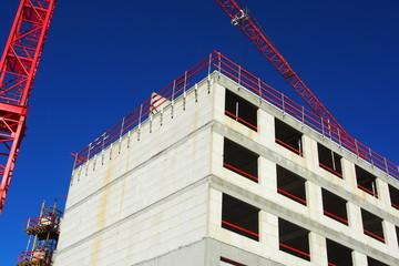 Baustelle Wohnungsbau, Baukran