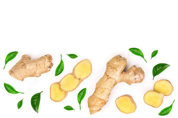 fresh Ginger root and slice isolated on white background with copy space for your text. Top view. Flat lay