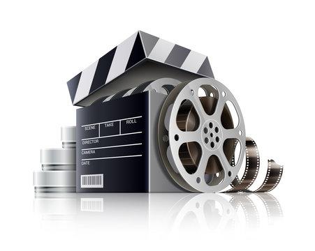 Cinematography or online cinema concept. Movie black box as