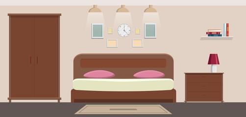 Bedroom interior vector illustration cabinet flat