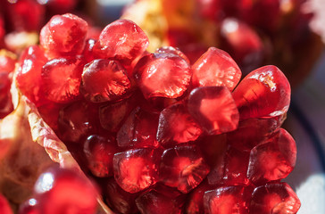 Juicy grain of red garnet