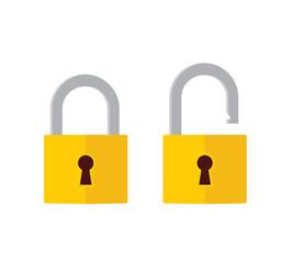 Lock open and lock closed icons. Padlock symbol - stock vector.