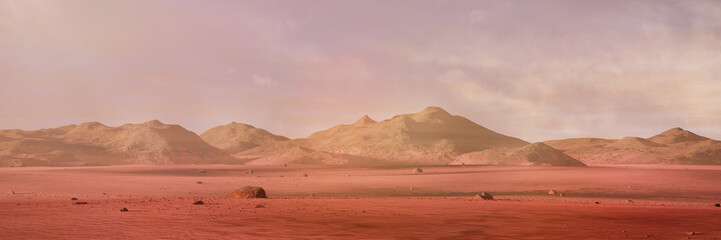 Photo Blinds Salmon landscape on planet Mars, scenic desert surrounded by mountains on the red planet (3d space rendering banner)