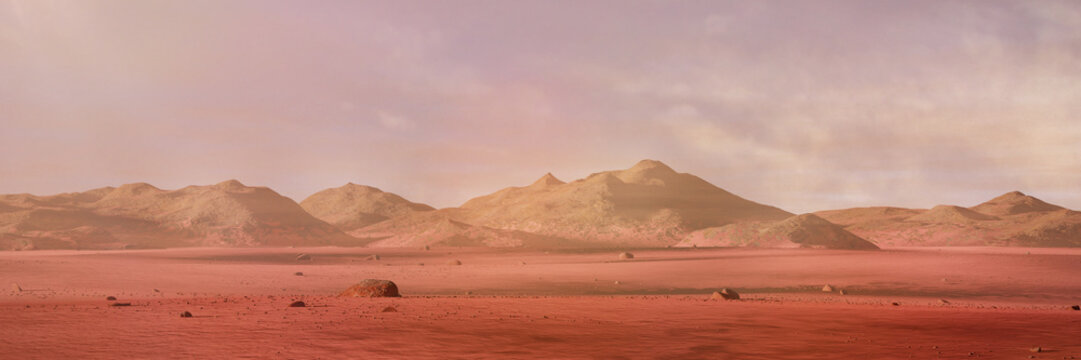 landscape on planet Mars, scenic desert surrounded by mountains on the red planet (3d space rendering banner)