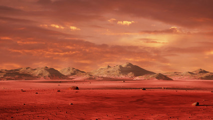 Photo Stands Magenta landscape on planet Mars, scenic desert surrounded by mountains on the red planet