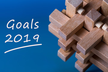 Goals 2019 memo about targets, goal, dreams and New Year's promises for the next year