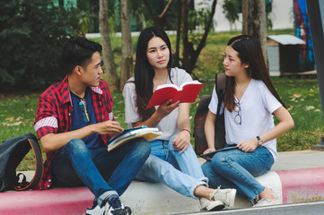 Asian group education, campus, friendship and people concept group.