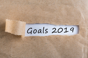 2019 goals message at torn brown envelope. Business theme
