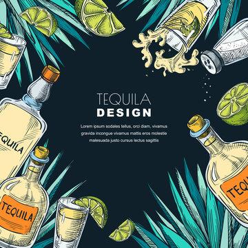 Tequila label design. Sketch vector illustration of bottles, shot glass, lime and agave. Bar menu black background.